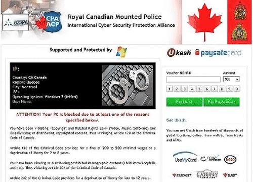 Royal Canadian Mounted Police RCMP Virus